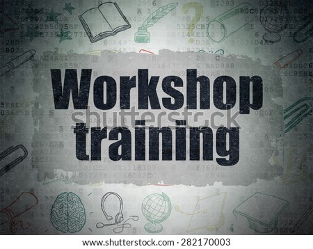 Learning concept: Painted black text Workshop Training on Digital Paper background with   Hand Drawn Education Icons, 3d render - stock photo