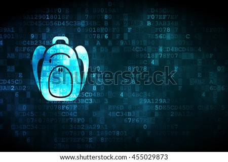 Learning concept: pixelated Backpack icon on digital background, empty copyspace for card, text, advertising - stock photo