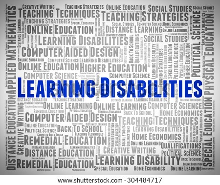 Learning Disabilities Words Representing Gifted Children And Train - stock photo