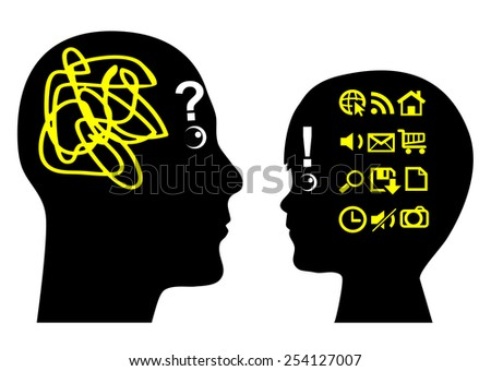Learning from Child. Adult gets educated by by kid in computer knowledge - stock photo