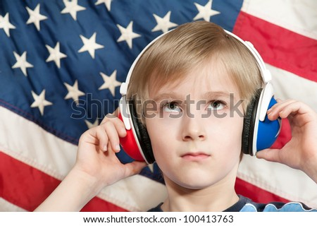 Learning language - American English (young boy) - stock photo