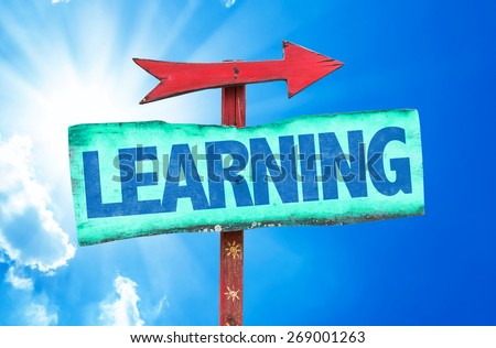 Learning sign with sky background - stock photo