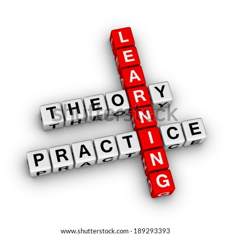 learning - theory and practice crossword puzzle - stock photo