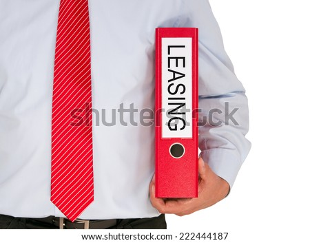 Leasing - Businessman with red binder on white background - stock photo