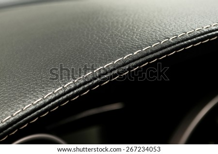 Leather background. Modern business car interior detail. - stock photo
