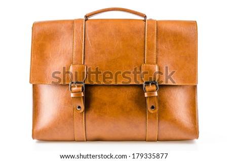 Leather bag isolated on white background - stock photo