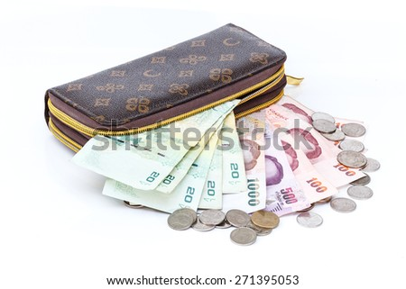 Leather Bags ,Wallet Putting money - stock photo