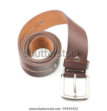 leather belt. - stock photo