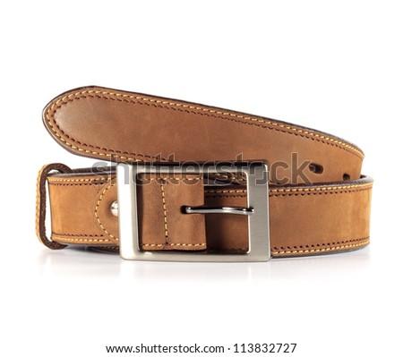 Leather belt for men. - stock photo