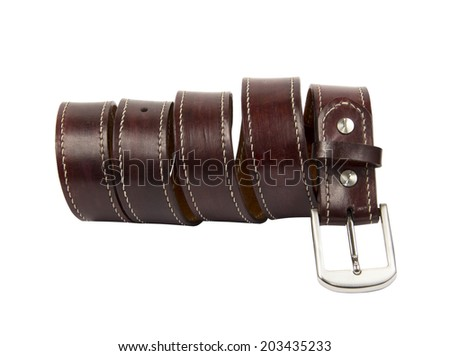 Leather belt for men . Isolate on white background - stock photo