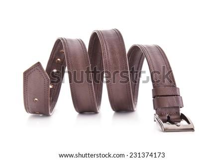 Leather belt for men on white background. - stock photo