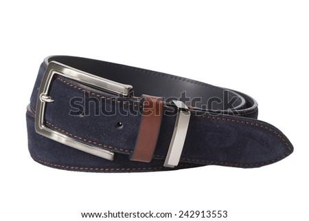 Leather belt for men on white background - stock photo