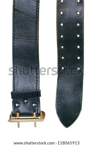 Leather belt on a white background. Fashion, Accessories - stock photo