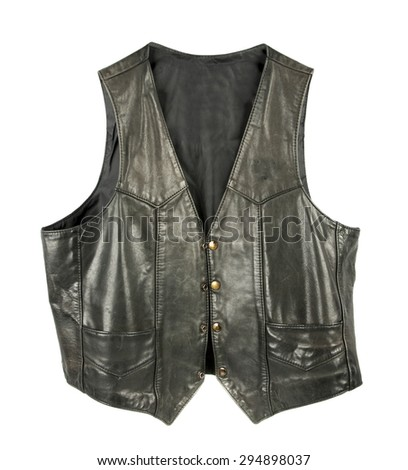 Leather biker jacket vest open - stock photo