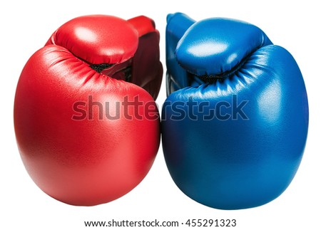 leather boxing gloves blue and red isolated on white background - stock photo