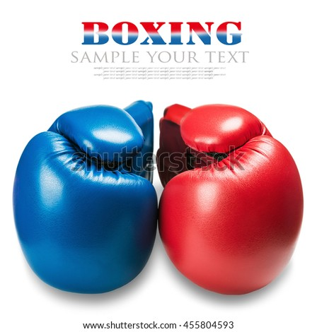 leather boxing gloves blue and red isolated on white background. Text for example removed and - stock photo