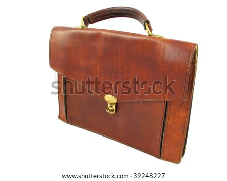 leather briefcase - stock photo