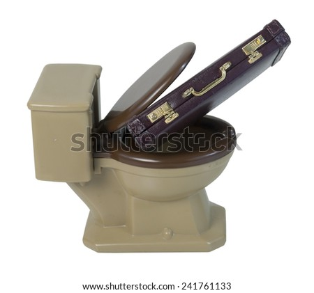 Leather briefcase in toilet to show that business is in the toilet - path included - stock photo