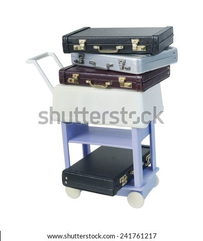 Leather briefcases on a trolley - path included - stock photo