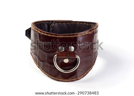 Leather brown fetish collar on a white background - stock photo