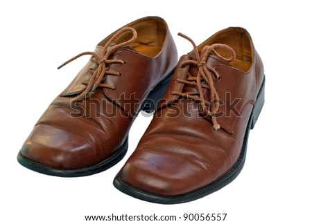 Leather brown shoes isolated on white background - stock photo