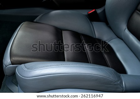 Leather car seat. - stock photo