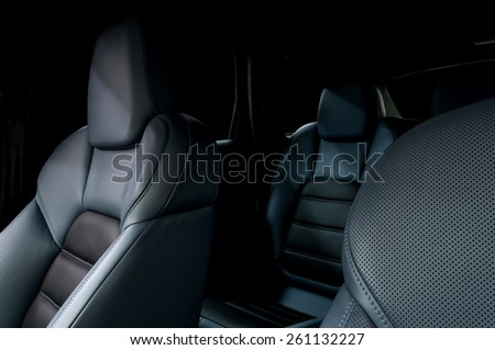 Leather car seats. Interior detail. - stock photo