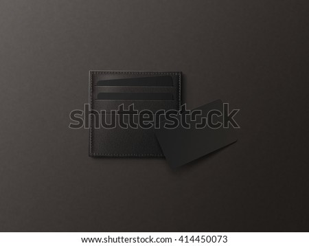 Leather card holder with blank black card mock up isolated. Business credit cards mockup in sleeve cardholder pocket. Clear paper visiting id cards in grey wallet box. Logo design presentation. - stock photo