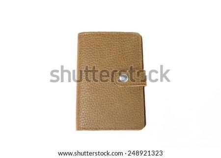 leather case notebook isolated on white background. - stock photo