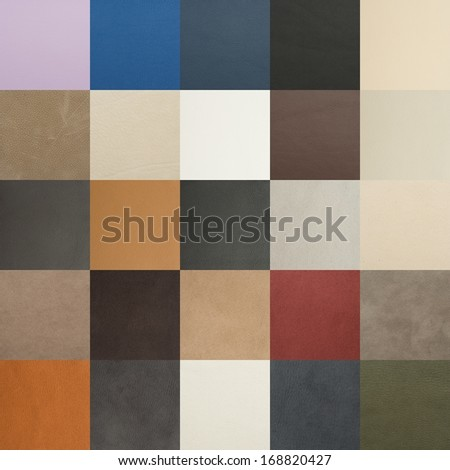 Leather chart with many color and texture samples - stock photo