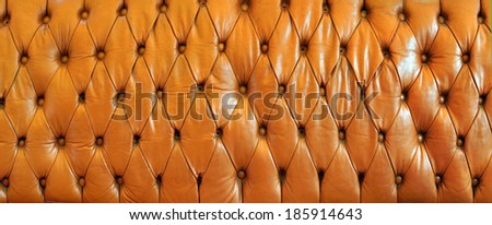 Leather chesterfield brown pattern detail - stock photo