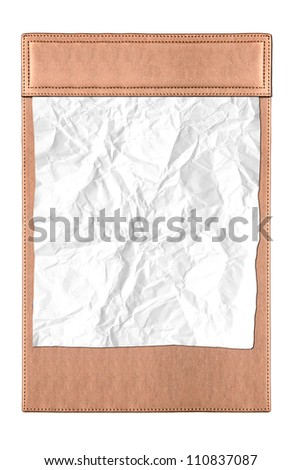leather clipboard with white Crumpled paper - stock photo