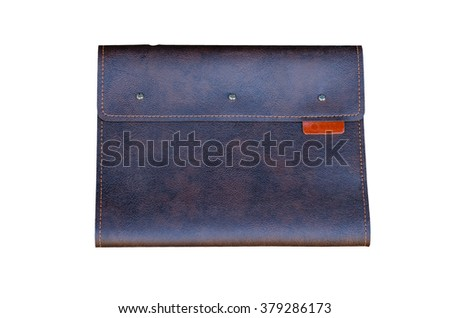leather clutch bag for tablet on a white background - stock photo