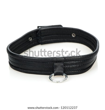 Leather collar with a metal ring - typical fetish wear. - stock photo