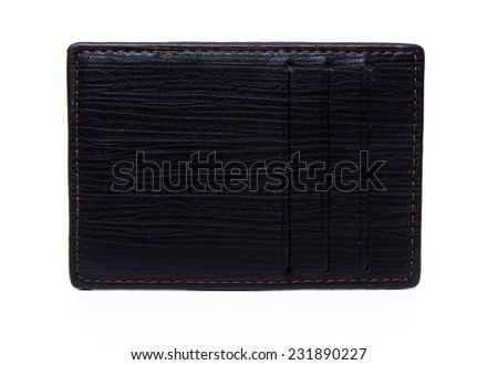leather credit card holder isolated on white background - stock photo