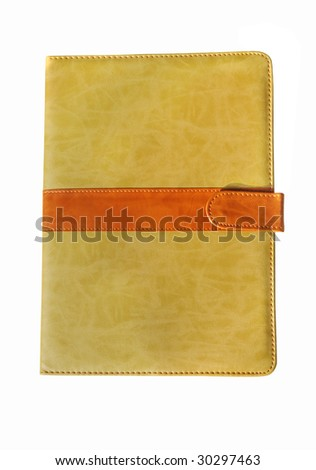leather diary notebook at the white - stock photo
