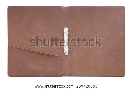 Leather folder cover on white background. - stock photo