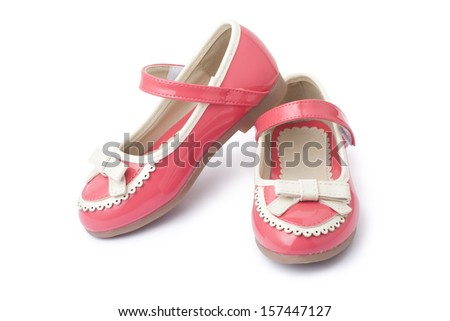 Leather girl shoes - stock photo