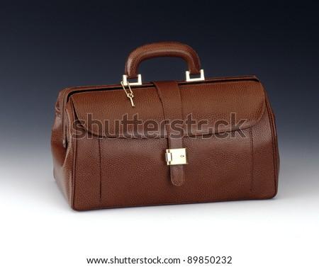 leather handbag - stock photo