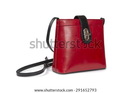Leather handbag isolated over white with clipping path. - stock photo