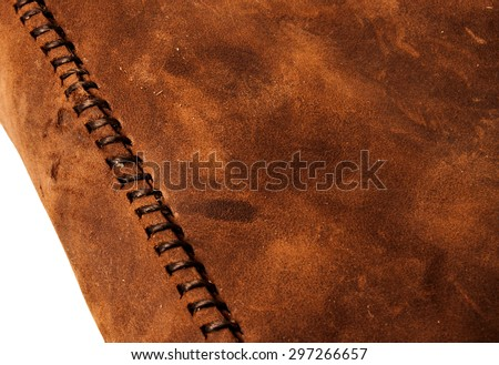 Leather Handmade Stitch (Brown Tan). Handcrafted Leather, Hand Sewing and Stitching. Rustic Style. Isolated on White Background. - stock photo