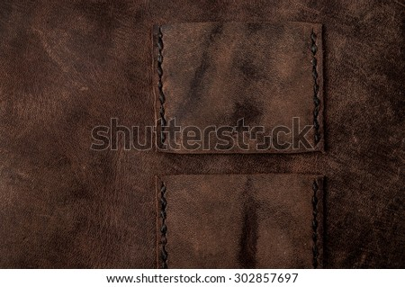 Leather Handmade Stitch Detail, Belt Bag Design Pattern (Dark Brown). Handcrafted Leather, Hand Sewing and Stitching. Rustic Style. Close up. - stock photo