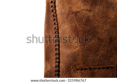 Leather Handmade Stitch, Making of Bag Design (Brown). Handcrafted Leather, Hand Sewing and Stitching. Rustic Style. Isolated on White Background. - stock photo