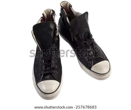 Leather high sneakers for men isolated on white - stock photo