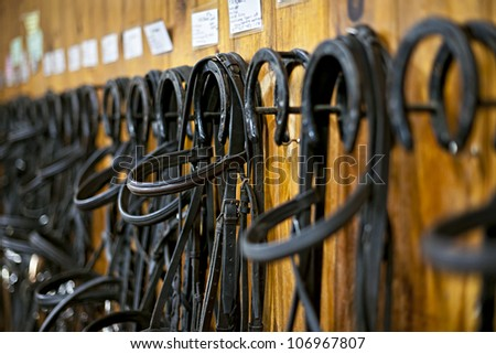 Leather horse bridles and bits hanging on wall of stable - stock photo