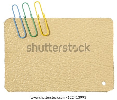Leather label with staples - stock photo
