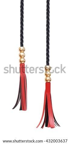 leather luxury tassels isolated on white - stock photo