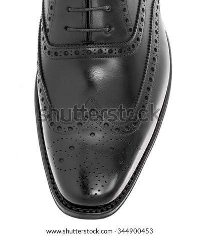 Leather man shoe close-up - stock photo