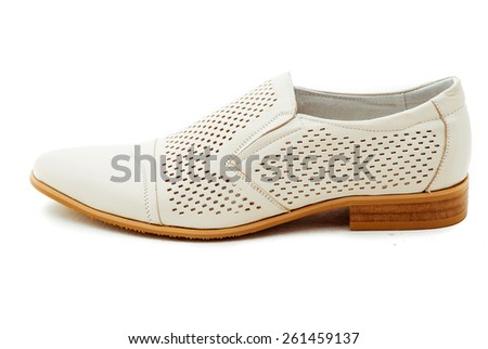 leather men's shoes on white background. - stock photo