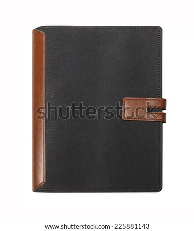 Leather notebook isolated on white background - stock photo
